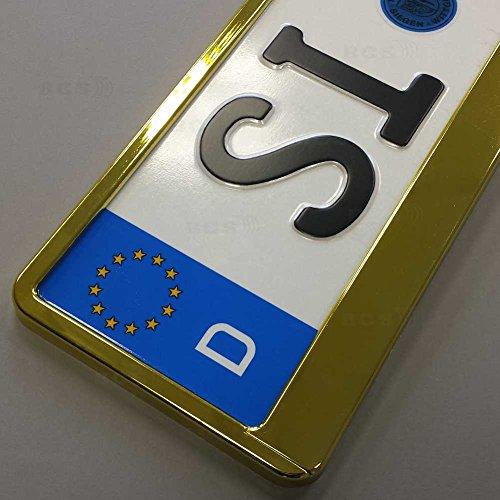 Preisvergleich Produktbild imex 2 Stück Kennzeichenhalter GELB Hochglanz metallic Optik Nummernschildhalter