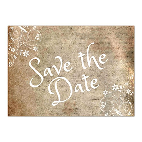 15 x Save the Date Karten mit Umschlag / Vintage mit Text / Hochzeit / Liebe / Heirat / Einladung / Verkündung