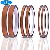 EAONE 6 stücke 3D Drucker Hohe Temperaturen Hitzebeständige Band Polyimid Elektronik Isolierband 33M Silikonkleber (3mmx33m, 6mmx33m, 12mmx33m)