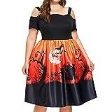 NPRADLA 2018 Herbst Winter Große größe Damen Kleider Elegant Festlich Frauen Schulterfrei Slim Skinny Halloween Kürbis Druck Party(Orange,L)