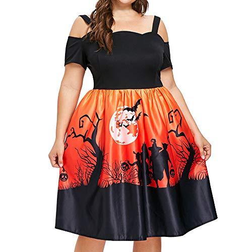 NPRADLA 2018 Herbst Winter Große größe Damen Kleider Elegant Festlich Frauen Schulterfrei Slim Skinny Halloween Kürbis Druck Party(Orange,2XL)