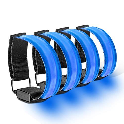 AJOXEL LED Armband, 4 Stück LED Armbänder Reflektorband mit Klettverschluss Stretchband Einstellbar Reflektorbänder Sicherheits Licht Reflektierende Armband für Joggen, Radfahren, Wandern (Blau)