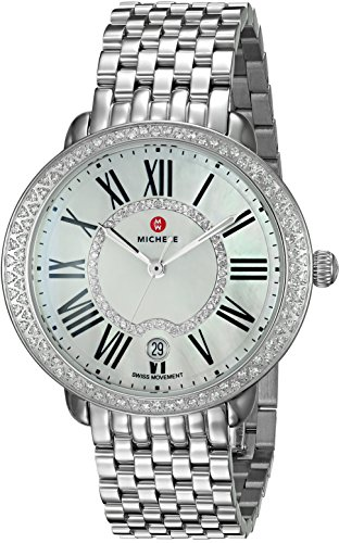 MICHELE WOMEN'S STEEL BRACELET & CASE SWISS QUARTZ MOP DIAL WATCH MWW21B000030
