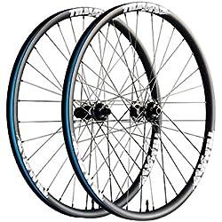 """Ruedas TRACKSTAR Carbono para MTB XC, 29"""" - 30mm ancho, ligeras y resistentes, con bujes DT Swiss y radios CX-Ray - Ejes 15x100mm y 12x142mm X-12 - Núcleo 10/11v. SHIMANO - Logos color (blanco)"""