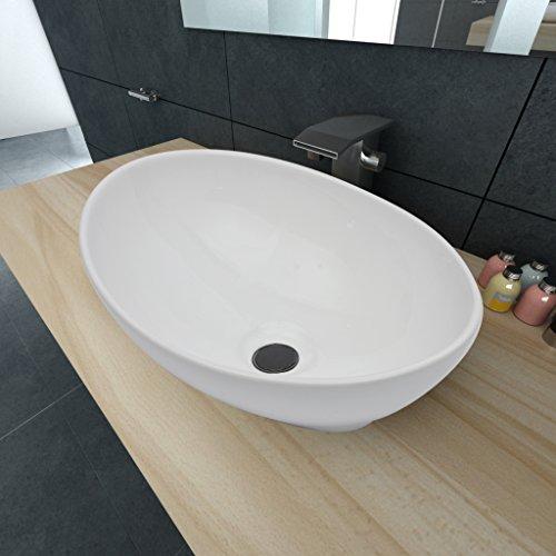 Festnight 40 x 33 cm Lavello Bianco in ceramica di lusso a forma ovale
