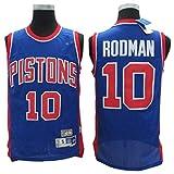 TGSCX Abbigliamento da Basket per Uomo, Maglia Classica 10# Rodman Pistons NBA, Divisa da Fan Unisex Vintage Traspirante Cool in Tessuto,L(180cm/75~85kg)