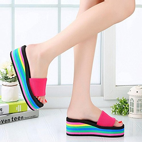Amlaiworld Donne Ragazze Piattaforma arcobaleno Estate antiscivolo pantofole da spiaggia rosa caldo
