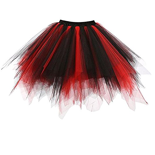 1950er Jahre Roll Rock And Outfits (RuiyuhongE Frauen 1950er Jahre Vintage Short Petticoat Ballett Bubble Tutu Rock (XXL,)