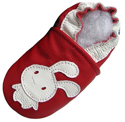 Carozoo Lapin Rouge (Bunny Red), Chaussures Bébé Semelle Souple Fille Pantoufle