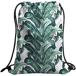 YISUMEI Turnbeutel Mode Jutebeutel Kordel Gym Bag Aquarell Romantische Feiertags Insel Hawaiische Bananenstaude