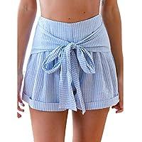 Keepwin Women's Striped Summer High Waist Drawstring Beach Sports Short Pants (L, Blue)
