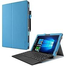 Lenovo Miix 510 Funda Case, Infiland Folio PU Cuero Cascara Delgada con Soporte para Lenovo Miix 510 Windows 10 Convertible Laptop Tablet, Azul Claro