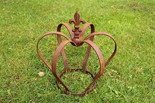 Manufaktur-Lichtbogen Edelrost Krone mit Lilie - 40 cm Hoch - Rost Gartendeko