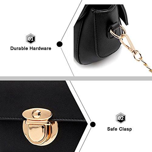 Yoome Casual Elegant Crossbody Chain Lock Borsa Fibbia Nuovo Chic elegante Borse eleganti lisce per le donne - Khaki Cachi