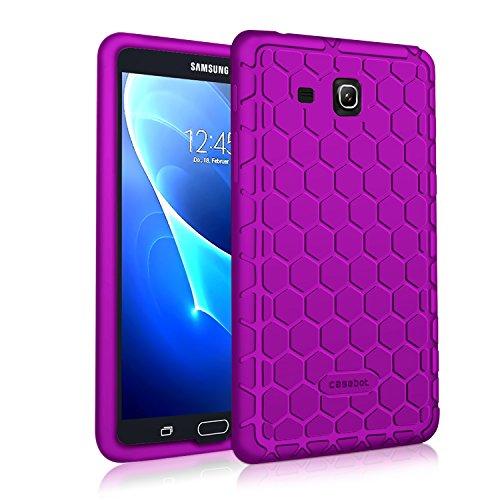 Fintie Silikon Hülle für Samsung Galaxy Tab A 7.0 SM-T280 / SM-T285 (7 Zoll) Tablet-PC - [Bienenstock Serie] Leichte rutschfeste Stoßfeste Silikon Schutzhülle Tasche Case Cover, Lila