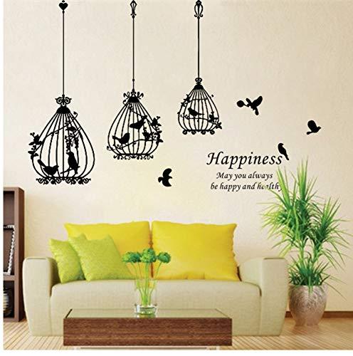 schöne Birdcage schwarze Vogel Blume Worte Glück nach Hause Aufkleber Wandaufkleber Hochzeit Dekoration Geschenk Lager Aufkleber für Schlafzimmer