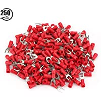 250 unids SV1.25-4 Terminales de horquilla Terminales de Cable eléctrico Aislados Crimp Heat Heat Shrink Wire Connectors Set(Red)