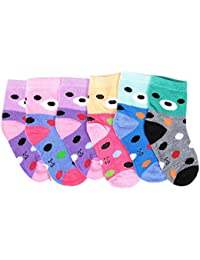 Krystle Unisex Kid's Cotton Socks, 2-3 Years (Multicolour, KIDS-2-SOCKS-PO6-3-4YRS) - Pack of 6