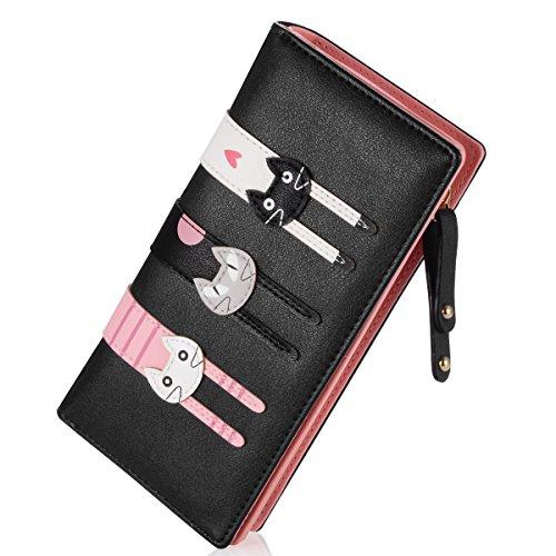 Huishunxin Damen Geldbörsen Reißverschluss Portemonnaie Lang Portmonee mit Vielen Kartenfächern Reißverschluss und Druckknopf Geldbeutel Katze Geldtasche (Schwarz)