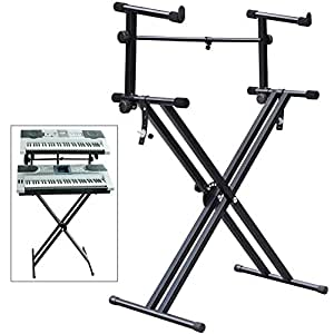 popamazing quality heavy duty x style dual keyboard stand electronic piano double 2 tier. Black Bedroom Furniture Sets. Home Design Ideas