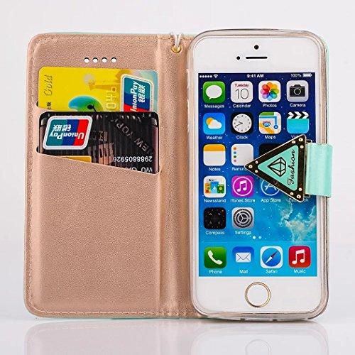 Vanndot Cover für iPhone 5 5s SE Diamant Bling Case mit Standfunktion Card Leder Flip Hülle Schutzhülle für iPhone 5 5s SE Handy Schutz Tasche Schale Bumper + 1X Micro USB Kabel + 1X Anti Staub Stöpse Grün