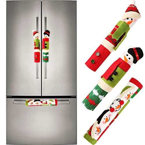 Natale copre maniglia set copre maniglia del frigorifero coperchio maniglia della porta con modello di pupazzo di neve per la decorazione natalizia, 3 pezzi totalmente