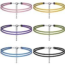 Natural Feelings 6 Piezas De Dos Tiras De Cuero Multicolor Ajustable Gargantilla Collar Para Mujeres