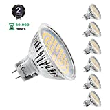 MR16 Ampoule LED Lampe Bulb, KDP GU5.3 5W Lumière LED, Equivalent 50W Ampoule Halogène Blanc Chaud 2800K 450LM AC/DC 12V Non-dimmable Spot LED (Lot de 6)