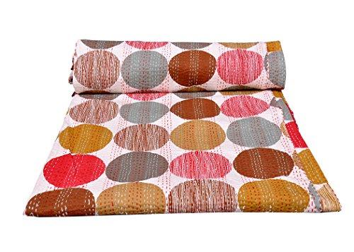 rawyal-stunning Polka Dot wendbar Bunte Kantha Steppdecke, indischen Sari Quilt, recycelten craft, Vintage Kantha Werfen, indischen handgefertigt Decke Gudri Tagesdecke (Quilt Werfen Patch Decke)