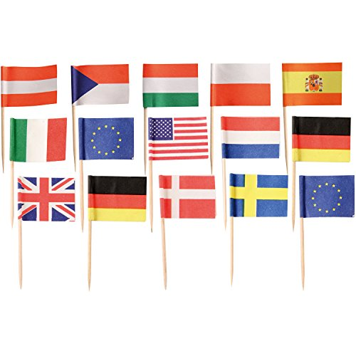 Fackelmann Mini Flags Set Gastro Party of Paper/Wood, Multicolored, 3-Inch, 100-Piece