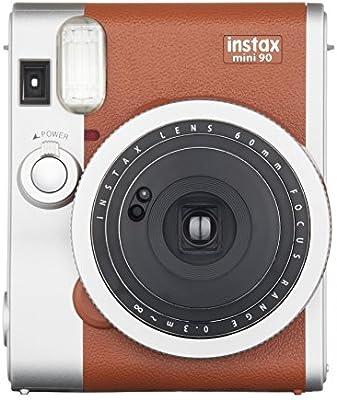 Fujifilm Instax Mini 90 Neo Classic - Cámara analógica instantánea (60 mm, f/12.7, 8x, pantalla LCD, exposición doble, macro, temporizador automático, flash)