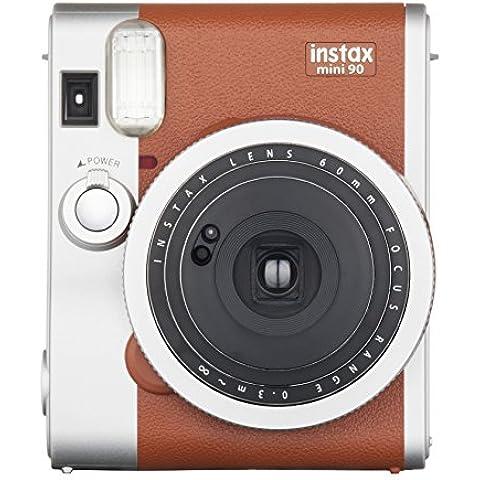 Fujifilm Instax Mini 90 Brown Fotocamera Istantanea per Stampe Formato 62 x 46 mm, (Mega Argento Confezione)