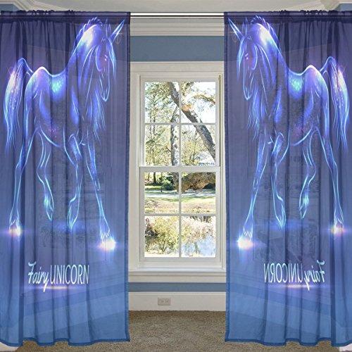 coosun Fairy Einhorn mit Sparkles Sheer Vorhang Einsätze Tüll Polyester Voile Fenster Behandlung Panel Vorhänge für Schlafzimmer Wohnzimmer Home Decor, 139,7x 213,4cm, 2Platten Set, Polyester, multi, 55x78x2(in)