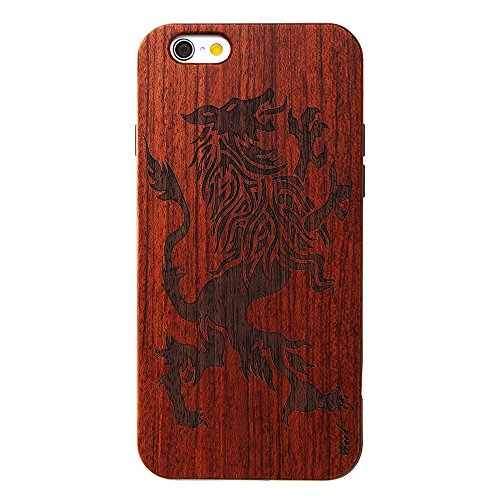 Handy Schutzhülle für iPhone 5 5S SE Forepin® Echtem Holzhülle auf Kunststoff Ultraslim Handyhülle - Hart PC Bumper Case für iPhone 5 5S SE SmartPhone, Tiger Monster