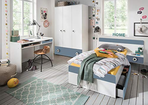 lifestyle4living Jugendzimmer Komplett-Set in weiß und hellblau, modernes Kinderzimmer für Jungen, 3-TLG. zeitlos (Kinder-möbel-schlafzimmer-set)