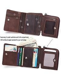 DUEBEL RFID bloqueo Tri-Fold Mens Cartera de cuero / titular / caso / protector - tiene 9 tarjetas de crédito, 1 ventana…