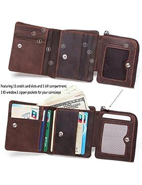 DUEBEL RFID bloqueo Tri-Fold Mens Cartera de cuero / titular / caso / protector - tiene 9 tarjetas de crédito,...