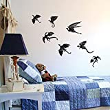 7Pcs / Lot Halloween Gothic Dragon Wallpaper Stickers Cool 3D Dragon Decoration for Kids Room (Black)