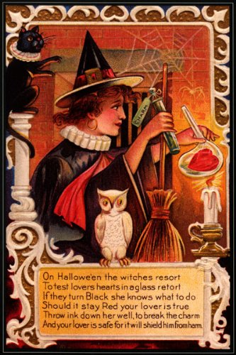 esen Eule Halloween Vintage Poster Repro (Halloween Schwarze Katze Vintage)
