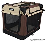 """EliteField 3-Door Folding Soft Dog Crate, Indoor & Outdoor Pet Home, Multiple Sizes and Colors Available (42"""" L x 28"""" W x 32"""" H, Brown+Beige)"""