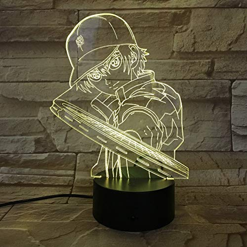 Tennis Prince Cartoon Film 3D LED Lampe Acryl Visuelle Illusion Urlaub Weihnachtsgeschenk 7 Farben Nachtlicht Geburtstag Party Decor (Of Anime Tennis Prince)