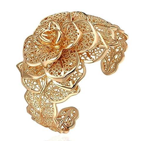 AMDXD Schmuck Vergoldet Damen Rose Gold Übertrieben Blütenform Charme Armband