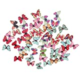 #4: Magideal 50pcs Mixed Shape Drawing Colored Wooden Buttons for Sewing DIY Craft