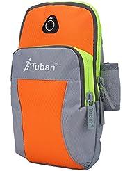 Bolso Brazalete Impermeable con Aguja de Auricular Banda Reflectante para Teléfono Correr Ciclismo Deportes ( Color : Orange+Grey , tamaño : M )