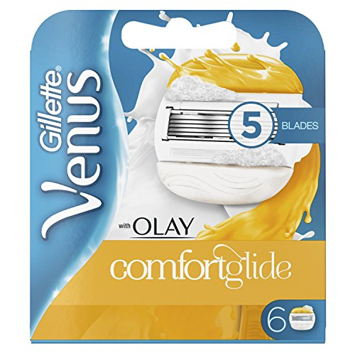 Price comparison product image Gillette Venus Comfortglide with Olay 2-in-1 Women's Razor Blades with Shaving Gel Bars, No Shave Cream Needed (Packaging May Vary) - 6 Pack