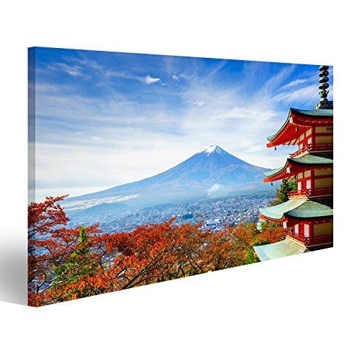 Cuadro Cuadros Impresión sobre lienzo - Formato Grande - Cuadros modernos templo japonés antes de Fujiyama