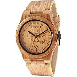 Alienwork Quartz Watch natural bamboo Wristwatch Handmade Leather yellow yellow UM105EG-03