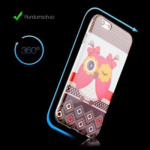 Apple iPhone 6S / 6 | iCues design TPU fleurs cas Hibou hibou hibou avec des cerfs | [Protecteur d'écran, y compris] Mesdames Femmes Filles motif motif gel de protection en silicone peau Couvercle de  Rose weiß