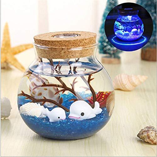 Nacht Licht Txxzn Neuheit Rgb Led Nacht Lampe Ozean Diy Fisch Stein Flasche Form Nächte Licht Für Kinder Baby Weihnachtsgeschenk Home Beleuchtung Blau 2 - Fische 2 Licht