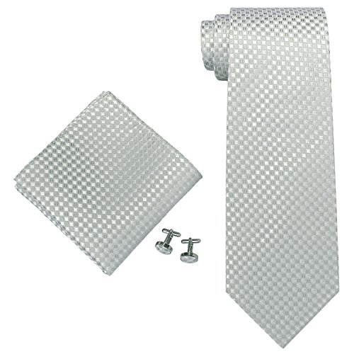 Landisun 1816E Silber grau Plaids Checks Seide:Krawatten Taschentuch Manschettenknöpfe